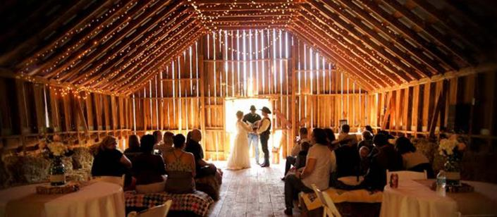 [Image: Jeans, boots and hats?  The barn is the right place for your wedding! Tip your hat to the beautiful lady coming down the aisle in her lacy white dress or freshly pressed wranglers. ]