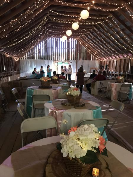 Country Casual, yet so elegant, Nikkie chose coral, peach and teal for her color scheme, accented by burlap and tea lit candles on each table.  Overhead twinkle lights and lit paper lanterns completed the setting of her very romantic ceremony and reception.