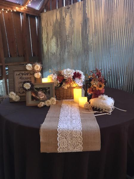Memorial Table Lit By Candles Burlap And Lace Wedding Gallery
