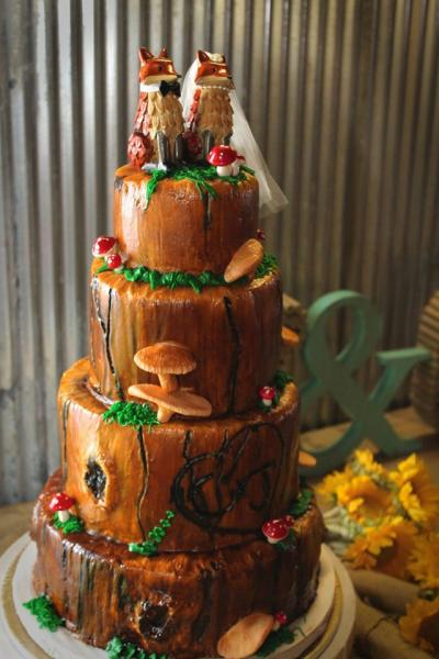 "[Image: We will make sure that your cake looks exactly the way you want it to!  This cake was designed by Carrie and Jeremiah FOX, and was created by ""Cravings by Rochelle,"" Eureka Springs most popular patisserie.]"